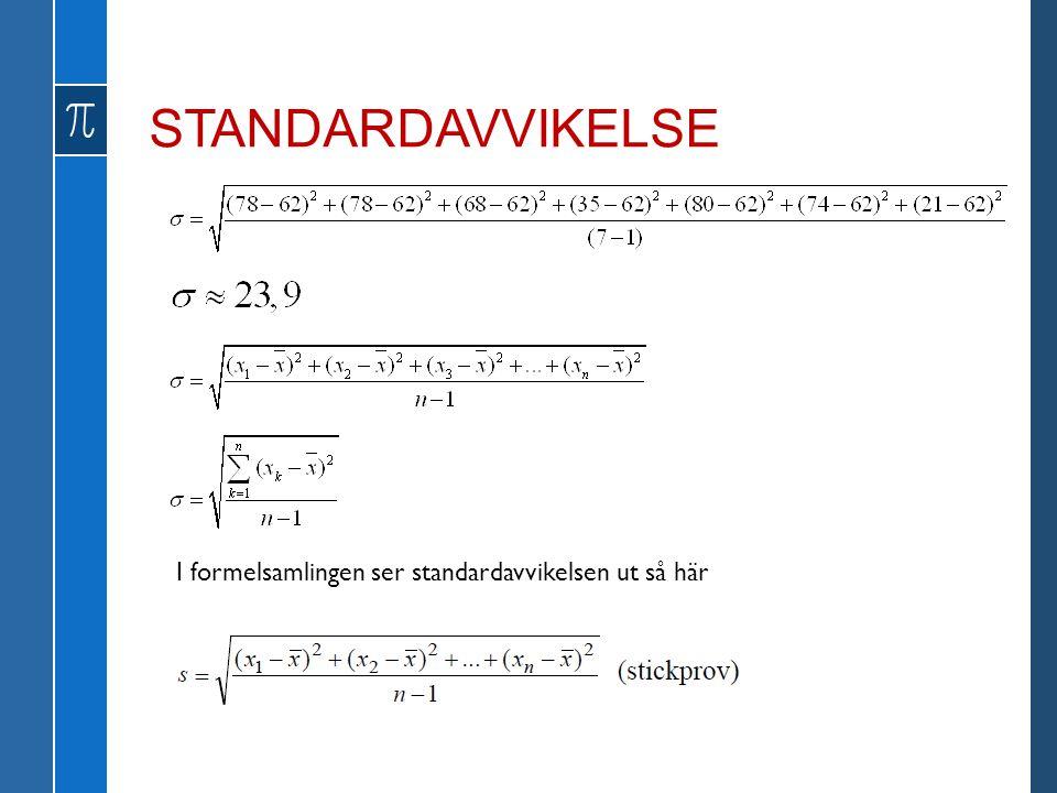STANDARDAVVIKELSE I formelsamlingen ser standardavvikelsen ut så här