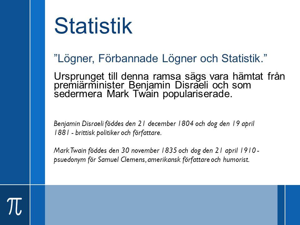 """Statistik """"Lögner, Förbannade Lögner och Statistik."""" Ursprunget till denna ramsa sägs vara hämtat från premiärminister Benjamin Disraeli och som seder"""