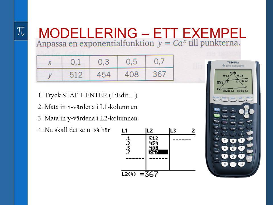 1. Tryck STAT + ENTER (1:Edit…) 2. Mata in x-värdena i L1-kolumnen 3. Mata in y-värdena i L2-kolumnen 4. Nu skall det se ut så här