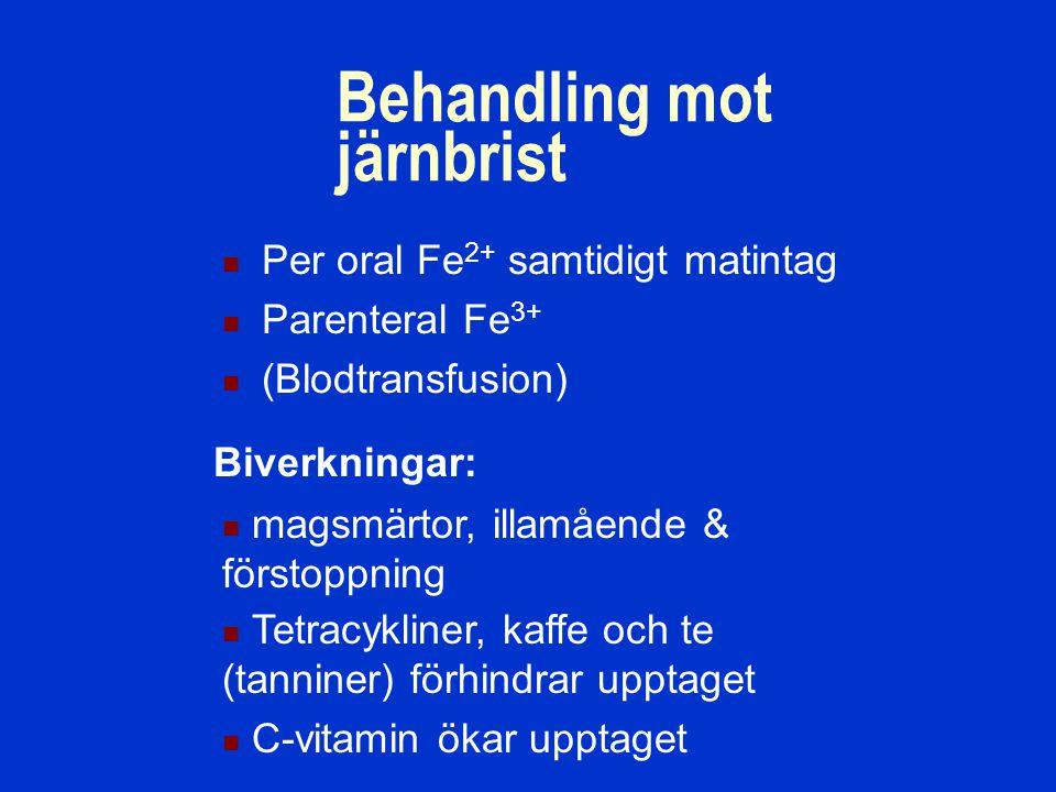 Behandling mot järnbrist Per oral Fe 2+ samtidigt matintag Parenteral Fe 3+ (Blodtransfusion) Biverkningar: magsmärtor, illamående & förstoppning Tetracykliner, kaffe och te (tanniner) förhindrar upptaget C-vitamin ökar upptaget