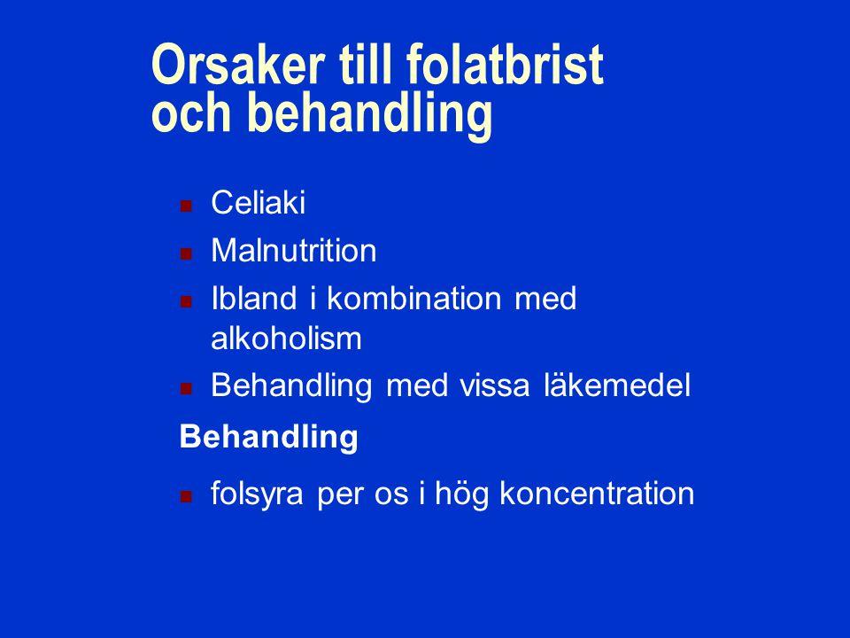 Orsaker till folatbrist och behandling Celiaki Malnutrition Ibland i kombination med alkoholism Behandling med vissa läkemedel folsyra per os i hög koncentration Behandling