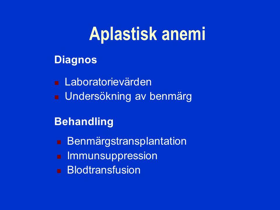 Diagnos Aplastisk anemi Behandling Laboratorievärden Undersökning av benmärg Benmärgstransplantation Immunsuppression Blodtransfusion