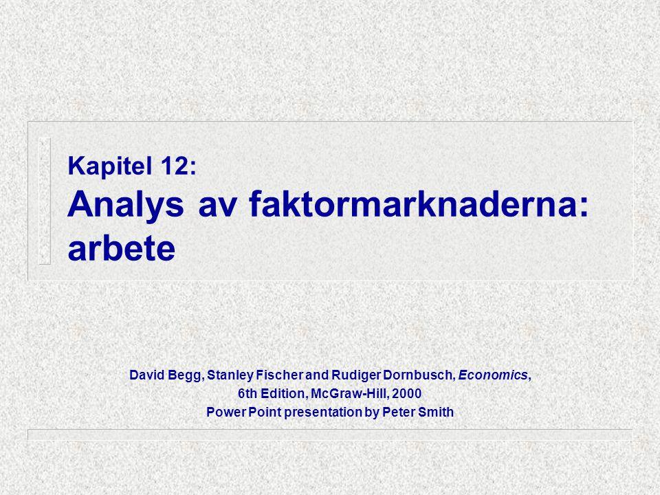 Kapitel 12: Analys av faktormarknaderna: arbete David Begg, Stanley Fischer and Rudiger Dornbusch, Economics, 6th Edition, McGraw-Hill, 2000 Power Point presentation by Peter Smith