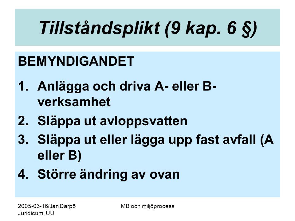 2005-03-16/Jan Darpö Juridicum, UU MB och miljöprocess Tillståndsplikt (9 kap. 6 §) BEMYNDIGANDET 1.Anlägga och driva A- eller B- verksamhet 2.Släppa
