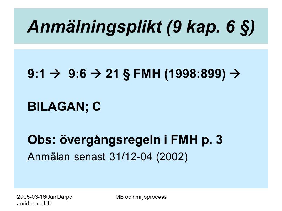2005-03-16/Jan Darpö Juridicum, UU MB och miljöprocess Anmälningsplikt (9 kap. 6 §) 9:1  9:6  21 § FMH (1998:899)  BILAGAN; C Obs: övergångsregeln
