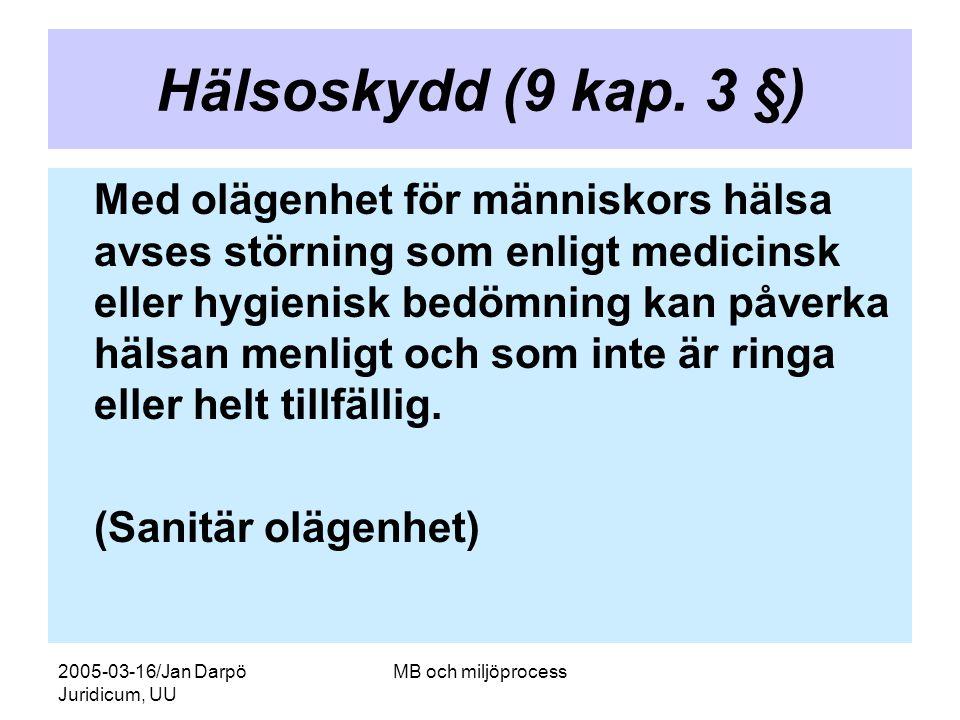2005-03-16/Jan Darpö Juridicum, UU MB och miljöprocess Hälsoskydd (9 kap. 3 §) Med olägenhet för människors hälsa avses störning som enligt medicinsk