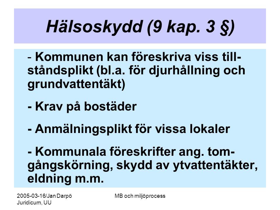 2005-03-16/Jan Darpö Juridicum, UU MB och miljöprocess Hälsoskydd (9 kap. 3 §) - Kommunen kan föreskriva viss till- ståndsplikt (bl.a. för djurhållnin