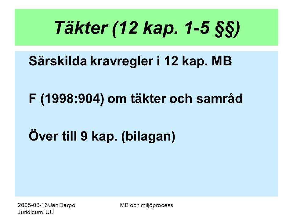2005-03-16/Jan Darpö Juridicum, UU MB och miljöprocess Täkter (12 kap. 1-5 §§) Särskilda kravregler i 12 kap. MB F (1998:904) om täkter och samråd Öve
