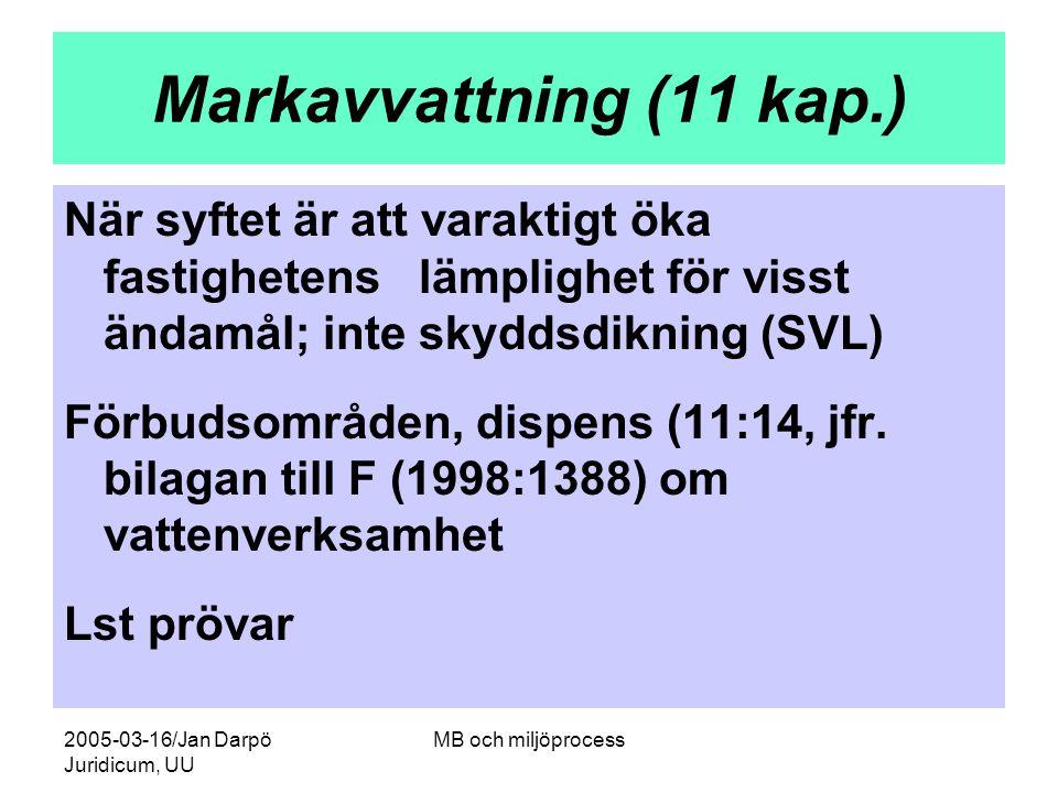 2005-03-16/Jan Darpö Juridicum, UU MB och miljöprocess Markavvattning (11 kap.) När syftet är att varaktigt öka fastighetens lämplighet för visst ända