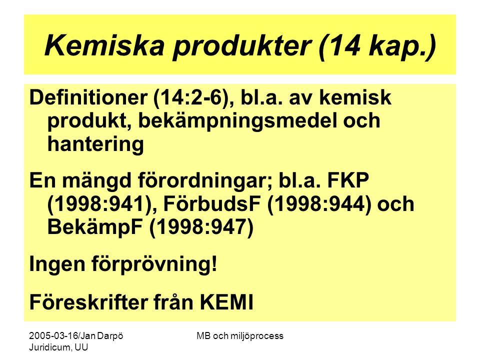 2005-03-16/Jan Darpö Juridicum, UU MB och miljöprocess Kemiska produkter (14 kap.) Definitioner (14:2-6), bl.a. av kemisk produkt, bekämpningsmedel oc