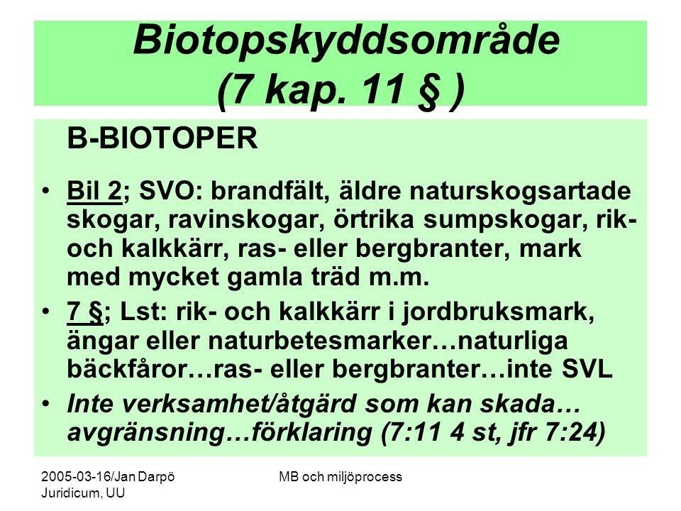2005-03-16/Jan Darpö Juridicum, UU MB och miljöprocess Biotopskyddsområde (7 kap. 11 § ) B-BIOTOPER Bil 2; SVO: brandfält, äldre naturskogsartade skog