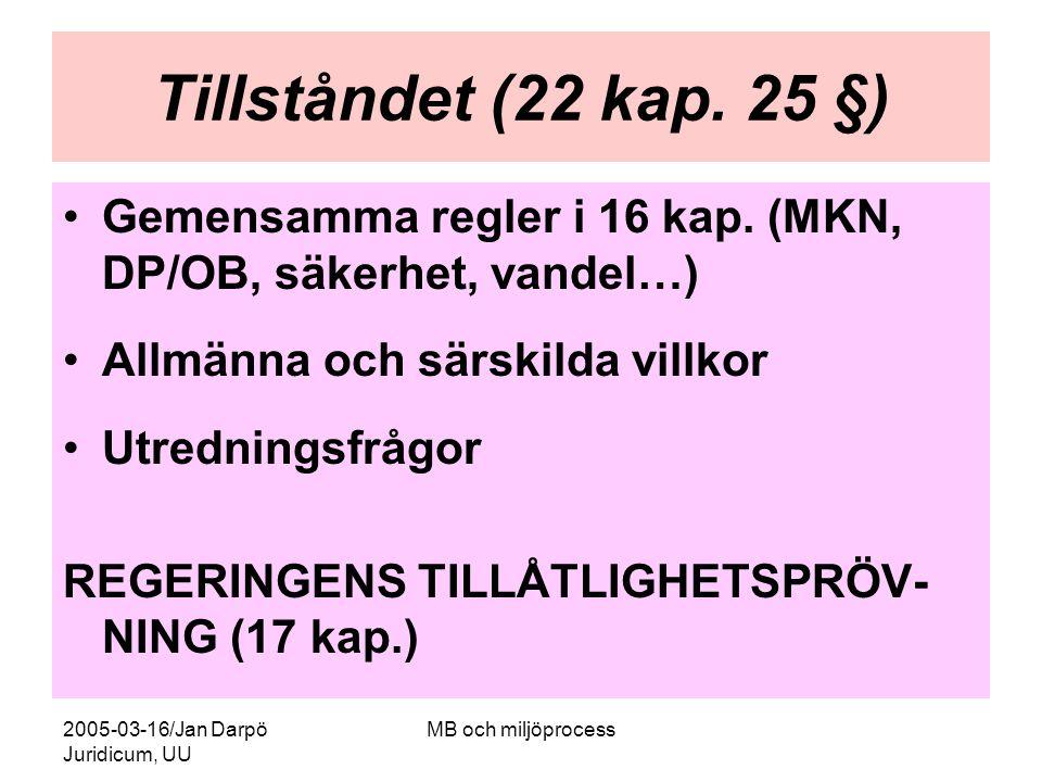 2005-03-16/Jan Darpö Juridicum, UU MB och miljöprocess Tillståndet (22 kap. 25 §) Gemensamma regler i 16 kap. (MKN, DP/OB, säkerhet, vandel…) Allmänna