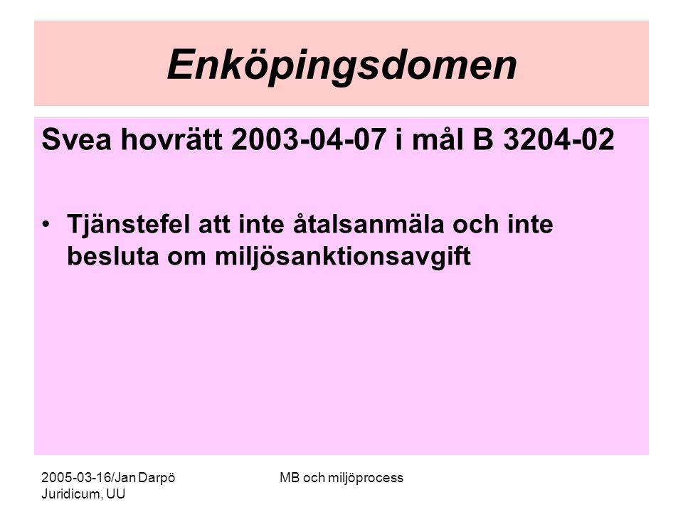 2005-03-16/Jan Darpö Juridicum, UU MB och miljöprocess Enköpingsdomen Svea hovrätt 2003-04-07 i mål B 3204-02 Tjänstefel att inte åtalsanmäla och inte