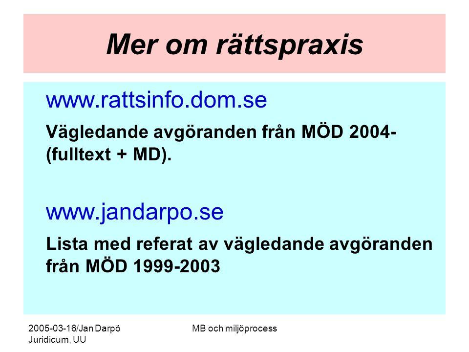 2005-03-16/Jan Darpö Juridicum, UU MB och miljöprocess Mer om rättspraxis www.rattsinfo.dom.se Vägledande avgöranden från MÖD 2004- (fulltext + MD). w