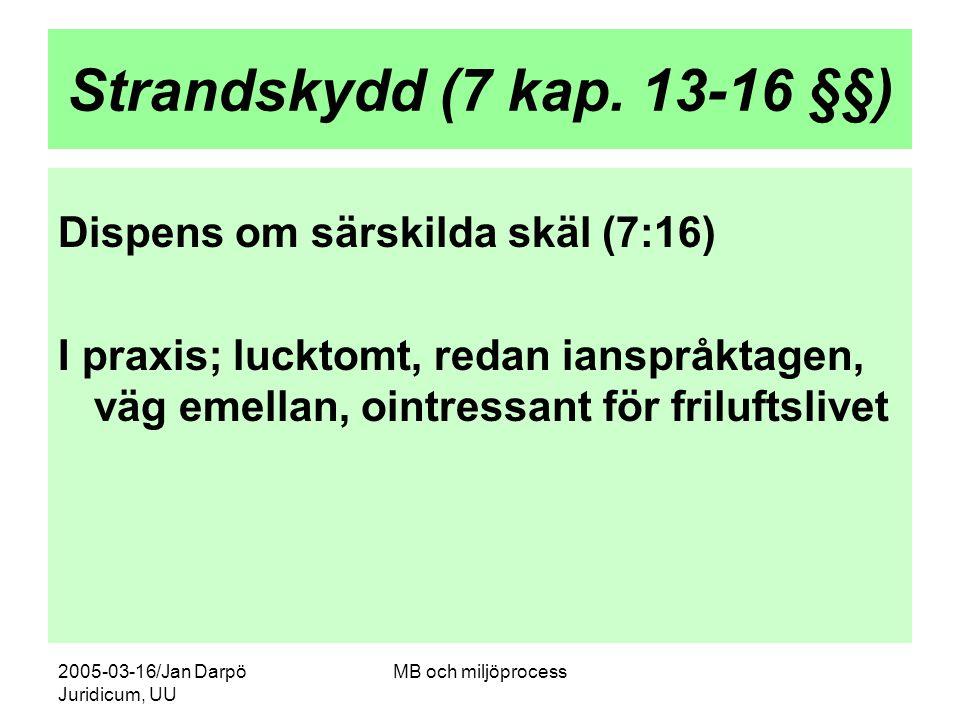 2005-03-16/Jan Darpö Juridicum, UU MB och miljöprocess Strandskydd (7 kap. 13-16 §§) Dispens om särskilda skäl (7:16) I praxis; lucktomt, redan ianspr