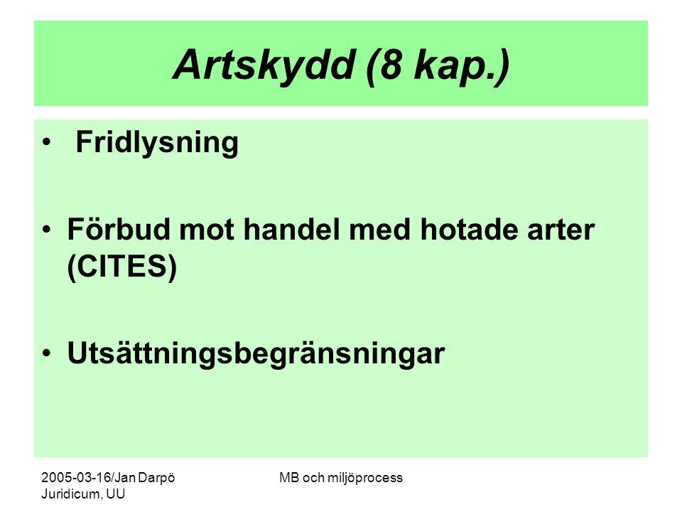 2005-03-16/Jan Darpö Juridicum, UU MB och miljöprocess Artskydd (8 kap.) Fridlysning Förbud mot handel med hotade arter (CITES) Utsättningsbegränsning