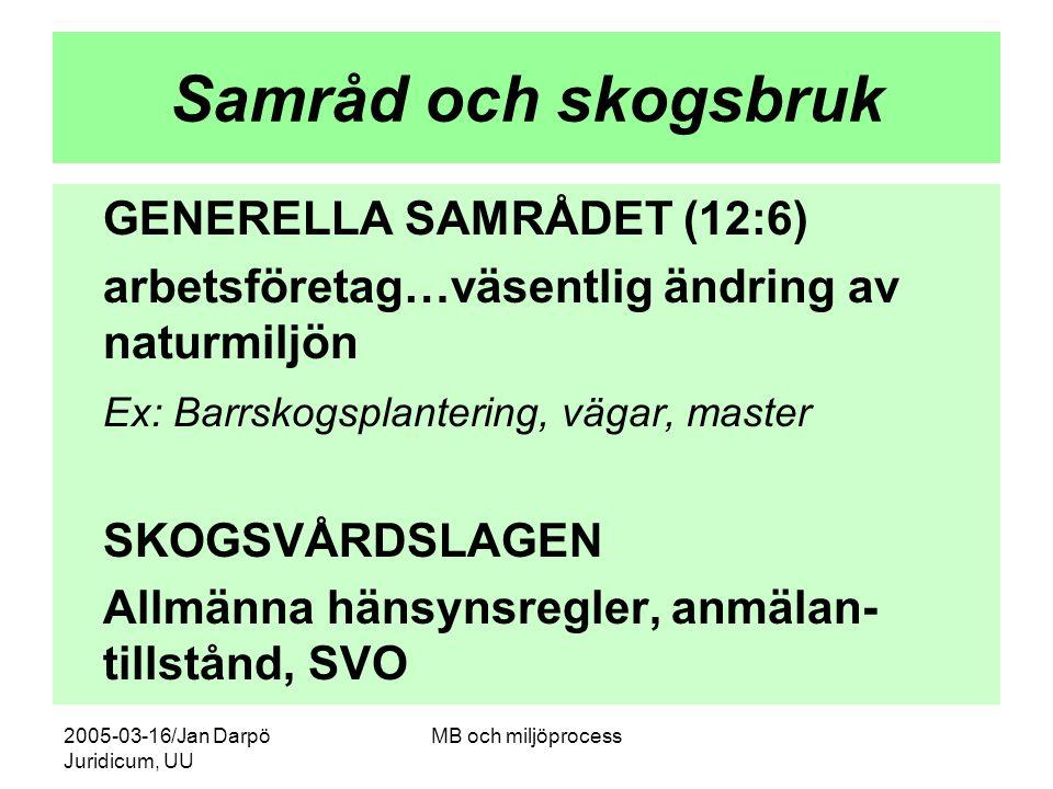 2005-03-16/Jan Darpö Juridicum, UU MB och miljöprocess Samråd och skogsbruk GENERELLA SAMRÅDET (12:6) arbetsföretag…väsentlig ändring av naturmiljön E