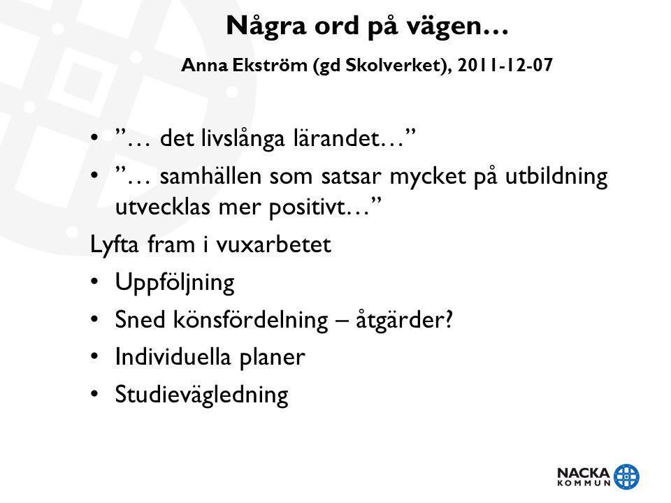 """Några ord på vägen… Anna Ekström (gd Skolverket), 2011-12-07 """"… det livslånga lärandet…"""" """"… samhällen som satsar mycket på utbildning utvecklas mer po"""