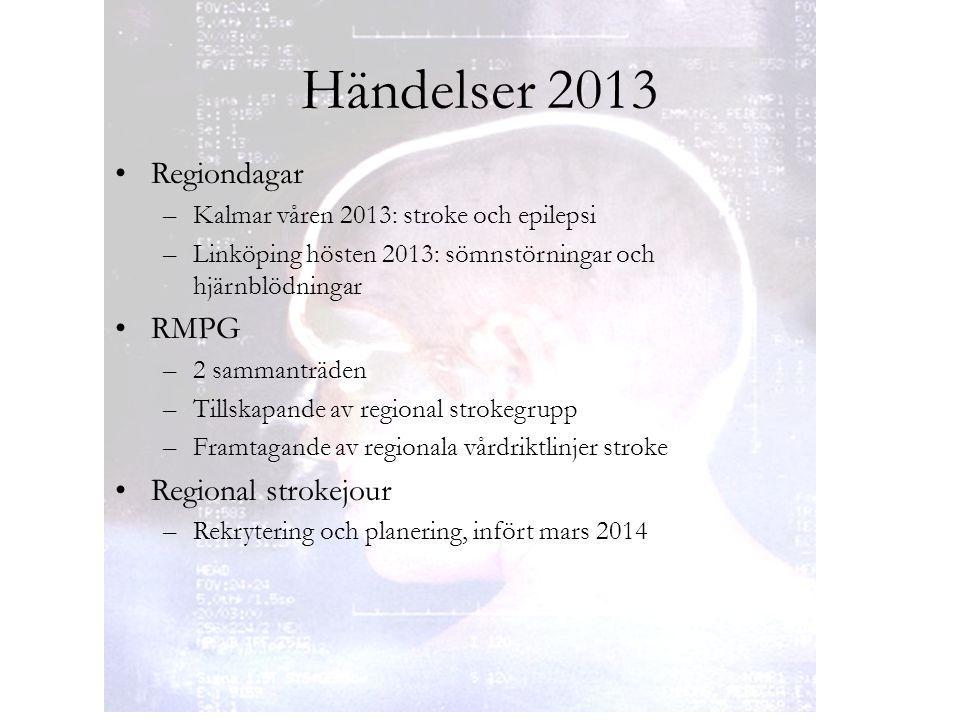 Händelser 2013 Regiondagar –Kalmar våren 2013: stroke och epilepsi –Linköping hösten 2013: sömnstörningar och hjärnblödningar RMPG –2 sammanträden –Ti