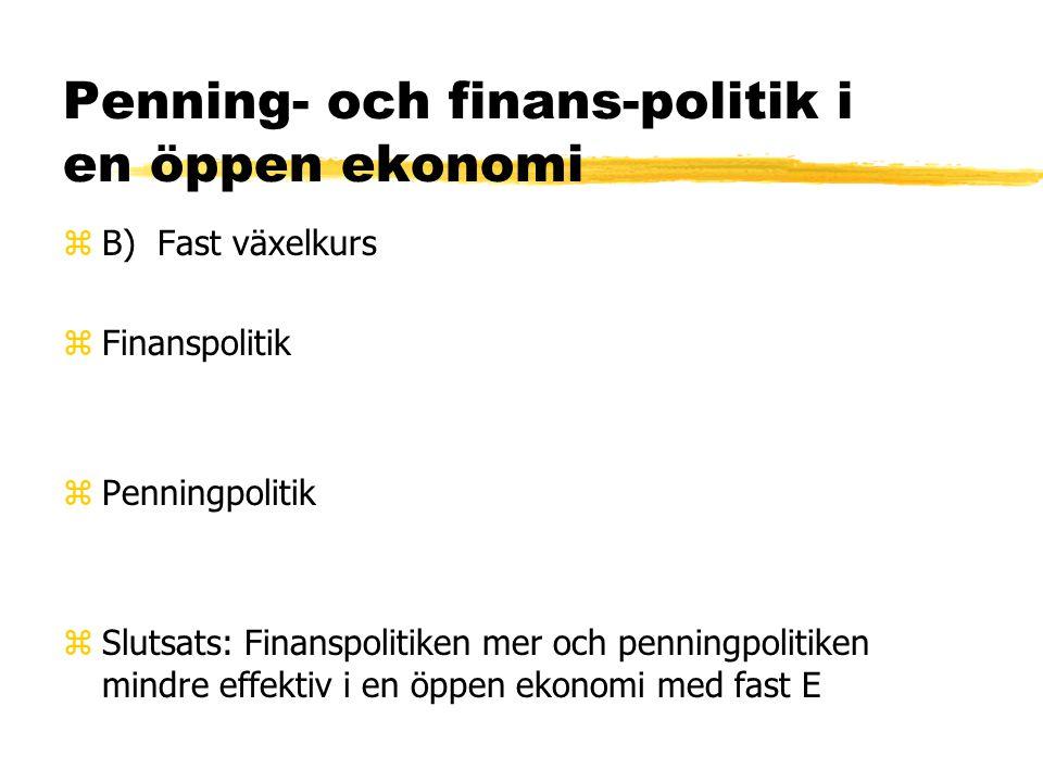 Penning- och finans-politik i en öppen ekonomi zA) Flytande växelkurs zEffekten på IS-kurvans lutning zFinanspolitik: zPenningpolitik: zSlutsats: Fina