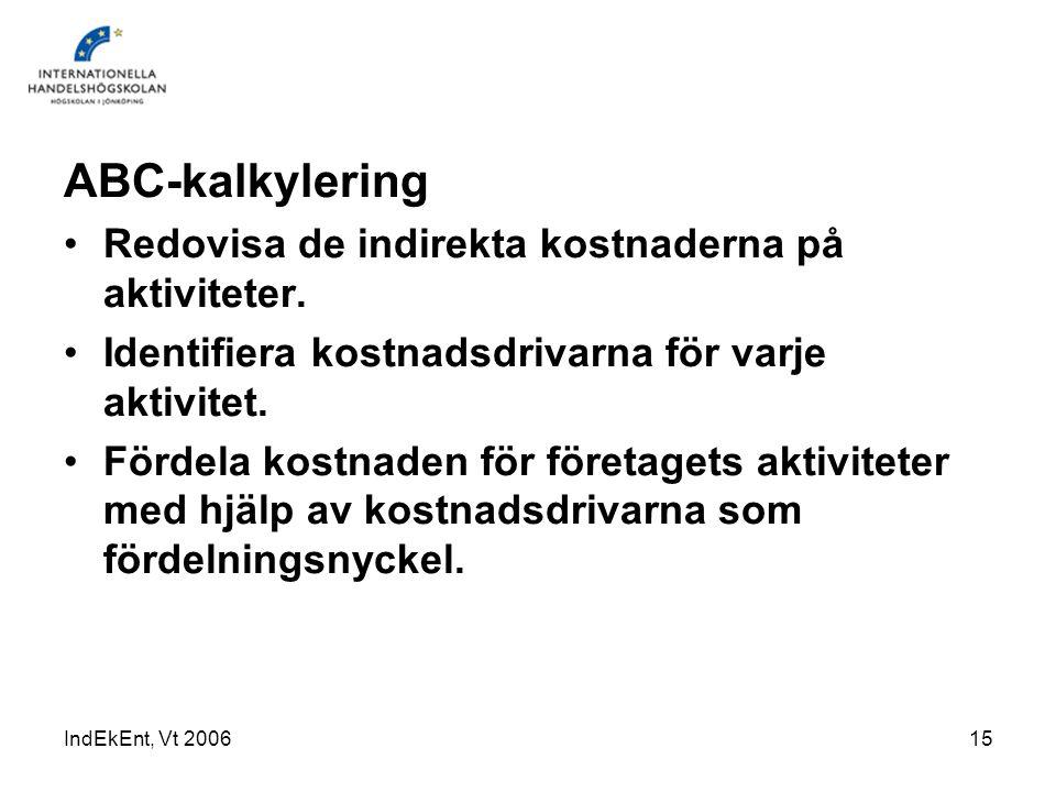 IndEkEnt, Vt 200615 ABC-kalkylering Redovisa de indirekta kostnaderna på aktiviteter. Identifiera kostnadsdrivarna för varje aktivitet. Fördela kostna