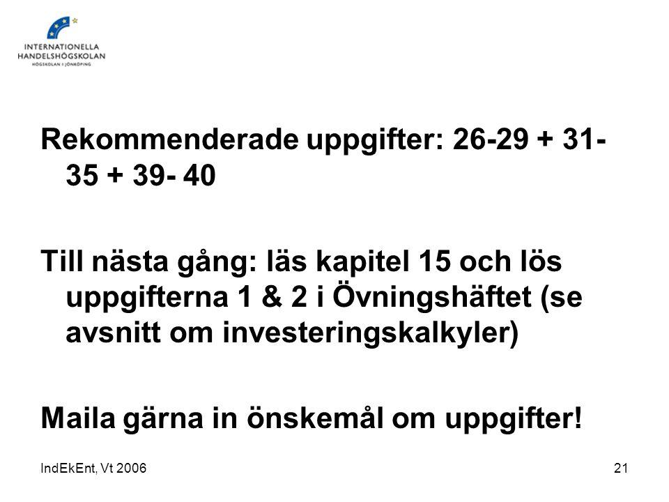 IndEkEnt, Vt 200621 Rekommenderade uppgifter: 26-29 + 31- 35 + 39- 40 Till nästa gång: läs kapitel 15 och lös uppgifterna 1 & 2 i Övningshäftet (se av