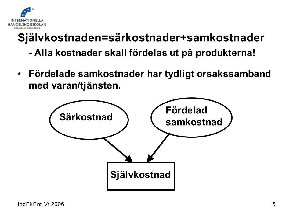 IndEkEnt, Vt 200616 Fördelar med ABC-kalkyler: Ger bättre precision i kostnadskalkyleringen.