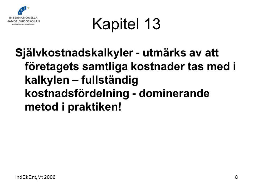 IndEkEnt, Vt 20068 Kapitel 13 Självkostnadskalkyler - utmärks av att företagets samtliga kostnader tas med i kalkylen – fullständig kostnadsfördelning