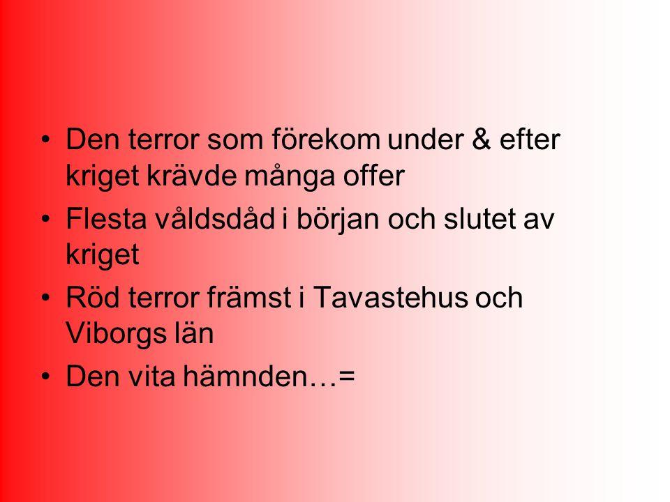 Den terror som förekom under & efter kriget krävde många offer Flesta våldsdåd i början och slutet av kriget Röd terror främst i Tavastehus och Viborg