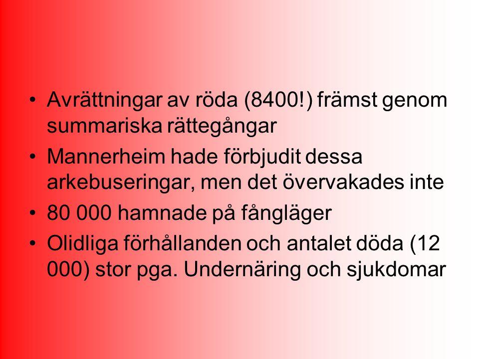 Avrättningar av röda (8400!) främst genom summariska rättegångar Mannerheim hade förbjudit dessa arkebuseringar, men det övervakades inte 80 000 hamna
