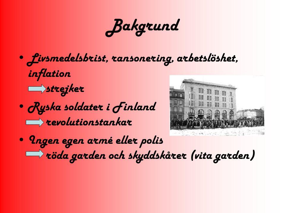 Bakgrund Livsmedelsbrist, ransonering, arbetslöshet, inflation strejker Ryska soldater i Finland revolutionstankar Ingen egen armé eller polis röda ga