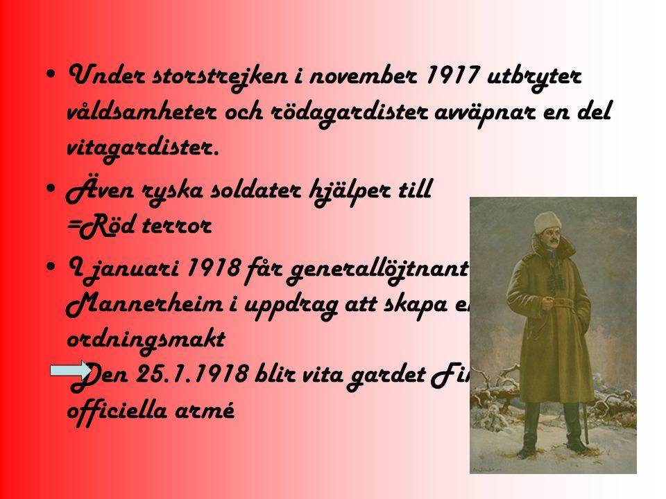 Den terror som förekom under & efter kriget krävde många offer Flesta våldsdåd i början och slutet av kriget Röd terror främst i Tavastehus och Viborgs län Den vita hämnden…=