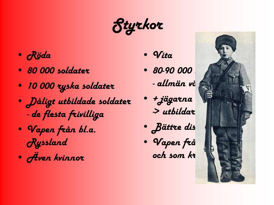 Styrkor Röda 80 000 soldater 10 000 ryska soldater Dåligt utbildade soldater - de flesta frivilliga Vapen från bl.a. Ryssland Även kvinnor Vita 80-90