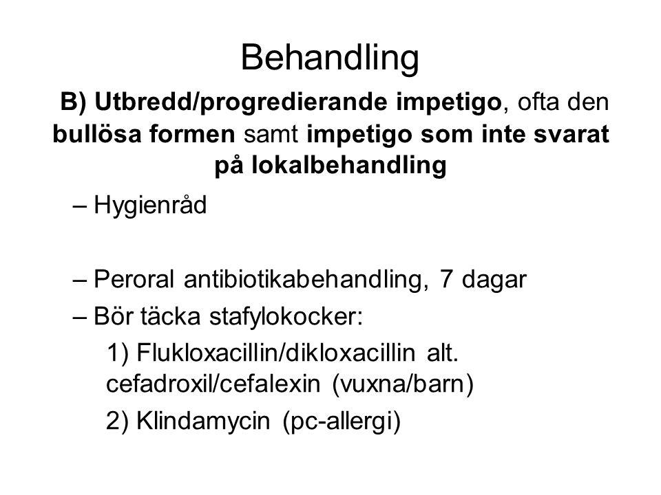 Behandling B) Utbredd/progredierande impetigo, ofta den bullösa formen samt impetigo som inte svarat på lokalbehandling –Hygienråd –Peroral antibiotikabehandling, 7 dagar –Bör täcka stafylokocker: 1) Flukloxacillin/dikloxacillin alt.