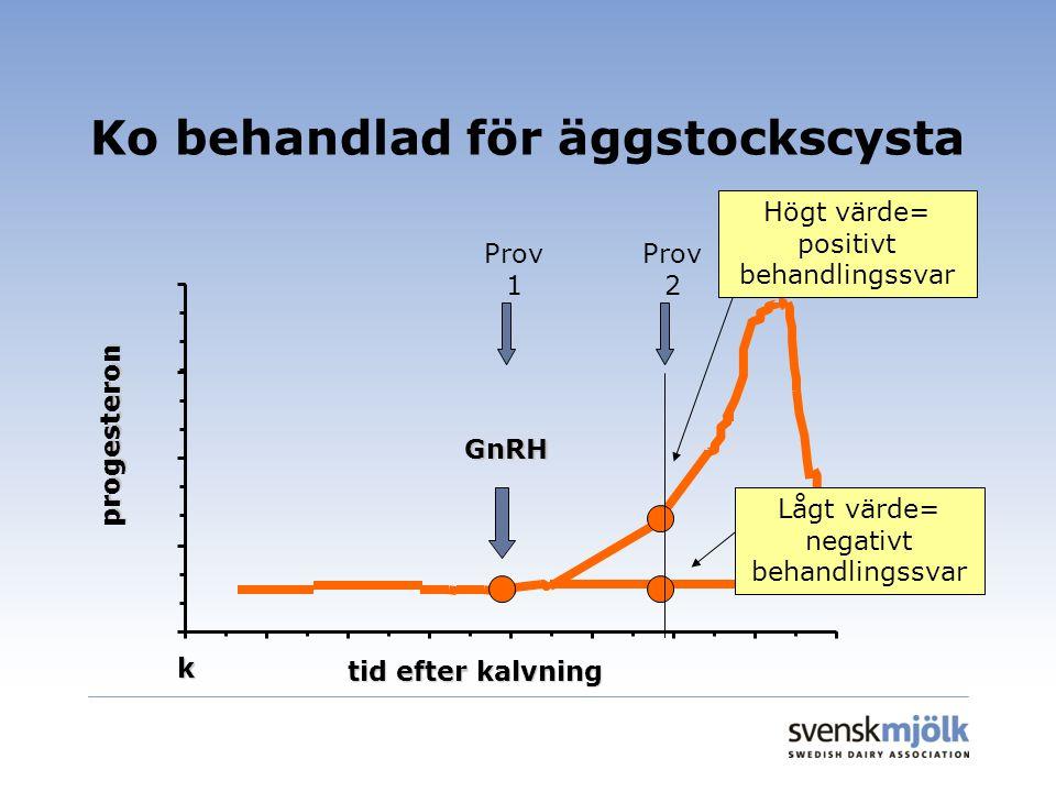 Ko behandlad för äggstockscysta k GnRH tid efter kalvning progesteron Prov 1 Prov 2 Högt värde= positivt behandlingssvar Lågt värde= negativt behandli