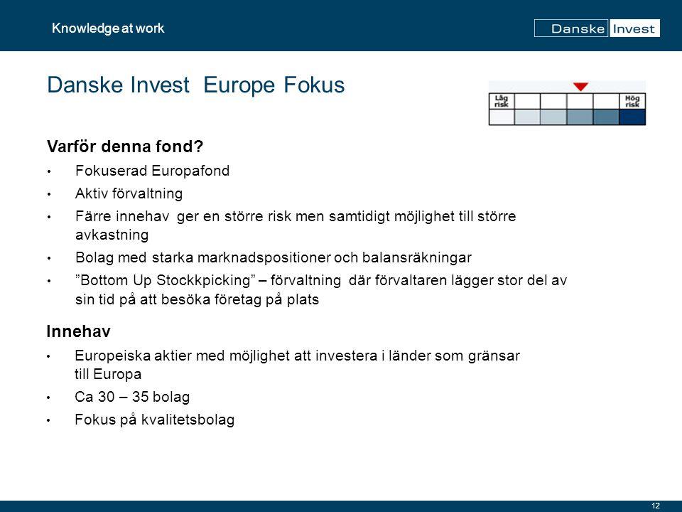 12 Knowledge at work Danske Invest Europe Fokus Innehav Europeiska aktier med möjlighet att investera i länder som gränsar till Europa Ca 30 – 35 bola
