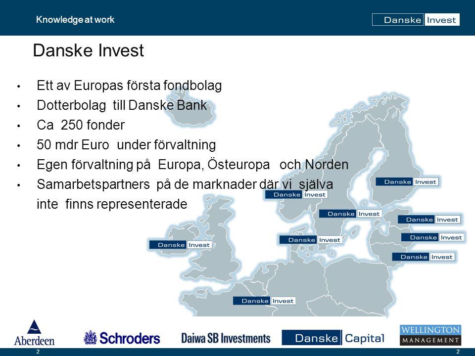 2 Knowledge at work 2 Danske Invest Ett av Europas första fondbolag Dotterbolag till Danske Bank Ca 250 fonder 50 mdr Euro under förvaltning Egen förvaltning på Europa, Östeuropa och Norden Samarbetspartners på de marknader där vi själva inte finns representerade