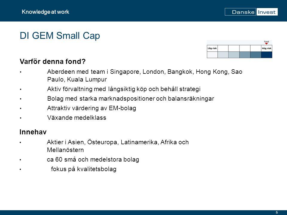 5 DI GEM Small Cap Innehav Aktier i Asien, Östeuropa, Latinamerika, Afrika och Mellanöstern ca 60 små och medelstora bolag fokus på kvalitetsbolag Var