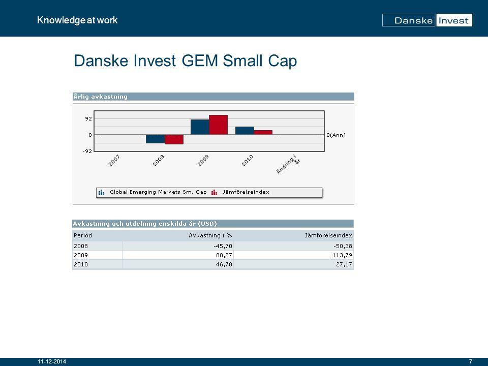 8 Knowledge at work 11-12-2014 Danske Invest GEM Small Cap