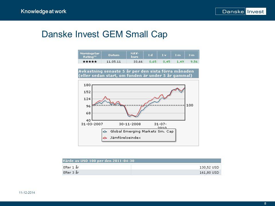 9 Knowledge at work 11-12-2014 Danske Invest GEM Small Cap