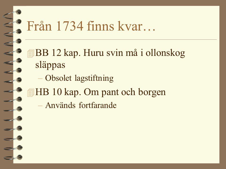 Från 1734 finns kvar… 4 BB 12 kap.