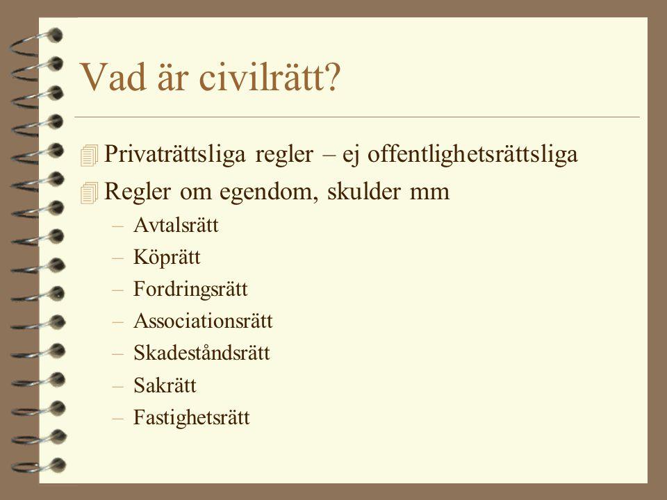 Det svenska rättssystemet Rättens indelning –Civilrätt –Straffrätt –Processrätt –Offentlig rätt –Skatterätt –Folkrätt –EU-rätt