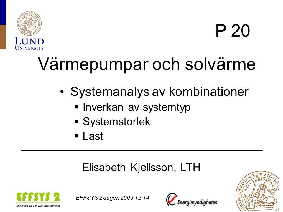 Elisabeth Kjellsson, LTH, EFFSYS 2 dagen 2009-12-14 Mål och metod Utreda nyttan av solvärme i olika system Elbesparing Tätare borrhål Simulering med olika program TRANSYS 16 Prestige 2.0 Winsun villa Vip+ 5.2