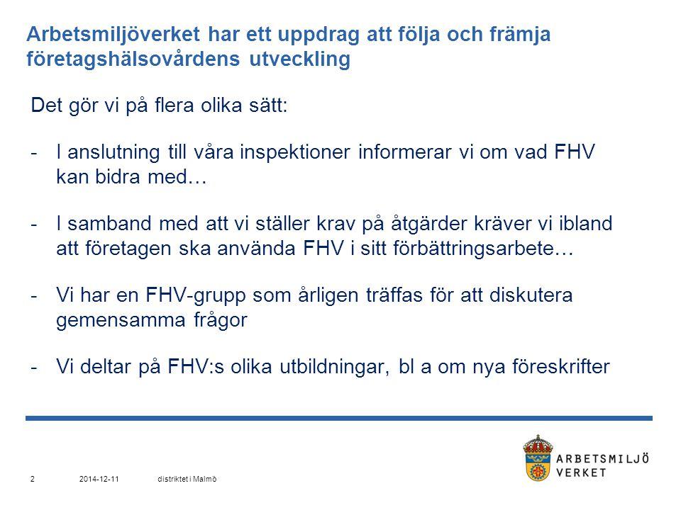 Under ett år inspekterar Arbetsmiljöverkets Malmödistrikt ca 6 % av Skånes alla arbetsplatser.