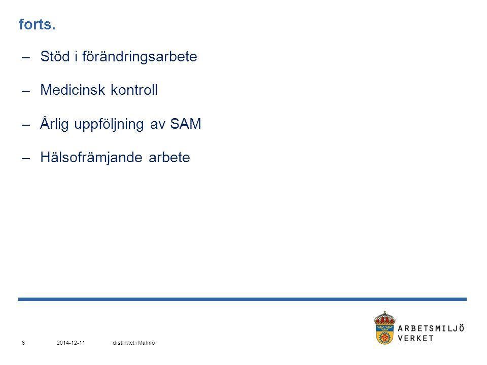 Kartläggning och riskbedömning –Psykosociala området; enkäter, intervjuer –Belastningsergonomi; enligt verkets bedömningsmodeller –Yrkeshygieniska mätningar; kemiska ämnen, buller, vibrationer –Ny/ändrad föreskrift … 2014-12-11distriktet i Malmö 7
