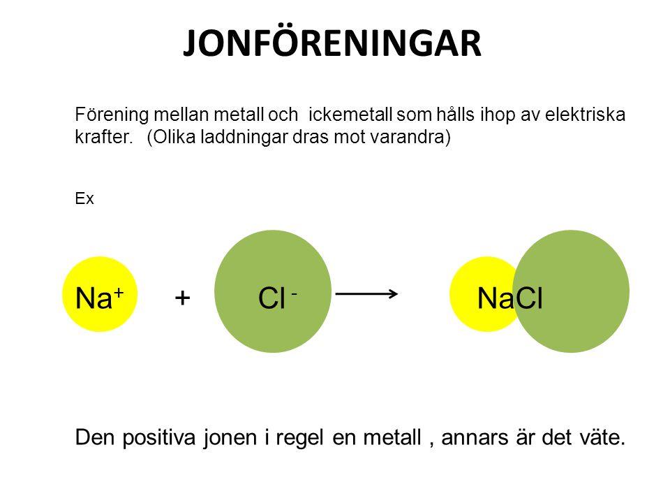 JONFÖRENINGAR Förening mellan metall och ickemetall som hålls ihop av elektriska krafter. (Olika laddningar dras mot varandra) Ex Na + + Cl - NaCl Den