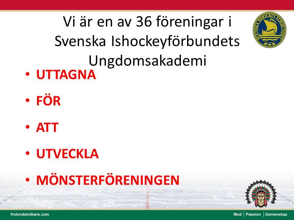Vi är en av 36 föreningar i Svenska Ishockeyförbundets Ungdomsakademi UTTAGNA FÖR ATT UTVECKLA MÖNSTERFÖRENINGEN