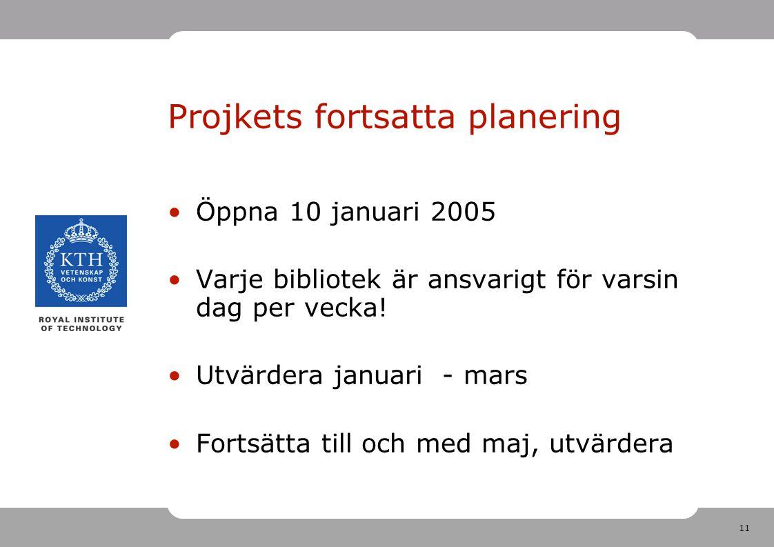 11 Projkets fortsatta planering Öppna 10 januari 2005 Varje bibliotek är ansvarigt för varsin dag per vecka! Utvärdera januari - mars Fortsätta till o