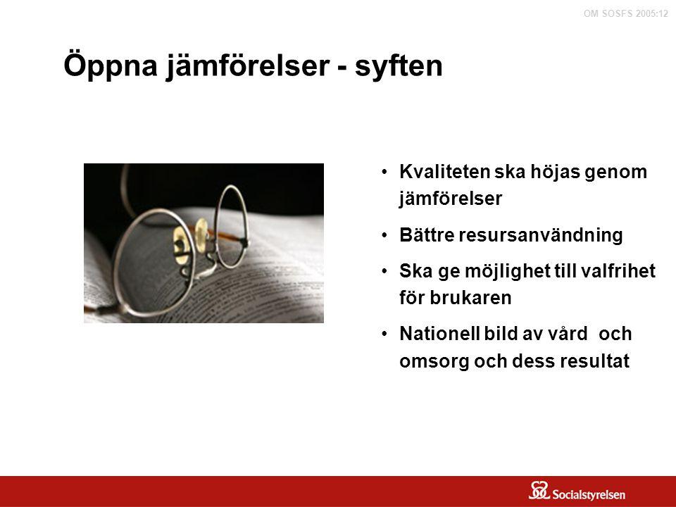 OM SOSFS 2005:12 Öppna jämförelser inom vård och omsorg om äldre personer Aktiviteter: Personnummerbaserad statistik Enkät till Sveriges kommuner om kvalitet, kostnader och effektivitet – Äldreguiden Brukarundersökningar Utveckla nationella kvalitetsindikatorer System för registrering av uppgifter om behov och utförda insatser Kostnad och effektivitet