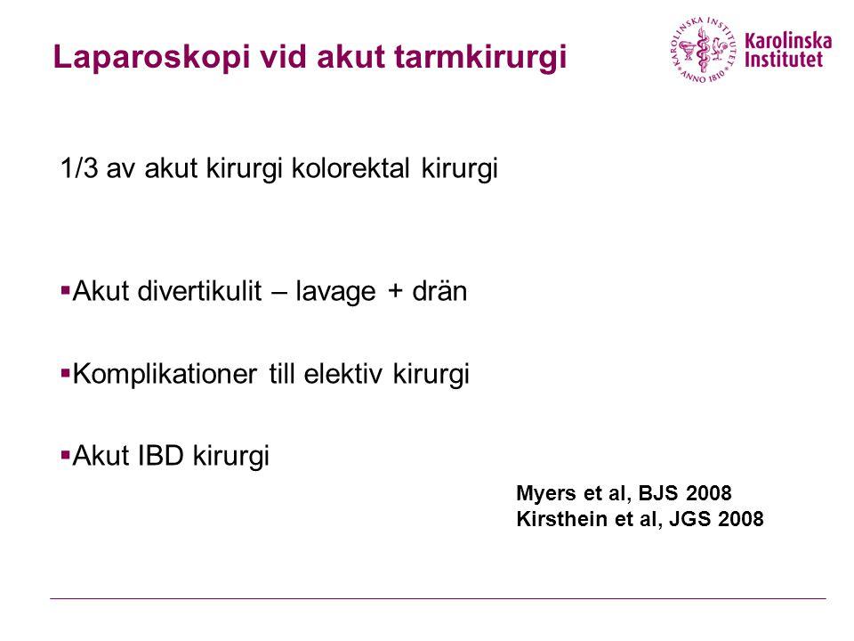 Laparoskopi vid akut tarmkirurgi 1/3 av akut kirurgi kolorektal kirurgi  Akut divertikulit – lavage + drän  Komplikationer till elektiv kirurgi  Akut IBD kirurgi Myers et al, BJS 2008 Kirsthein et al, JGS 2008